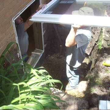 enlarged basement window opening