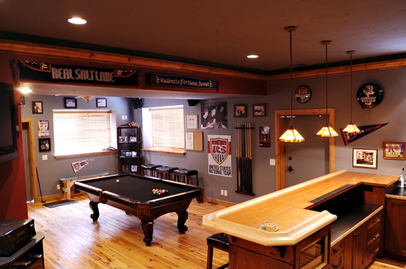 Basement room ideas - game room and bar.