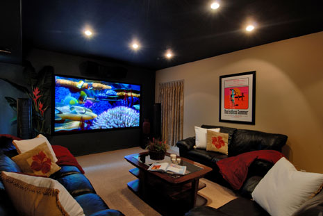 Finished Basement Media Room With Flat Screen TV