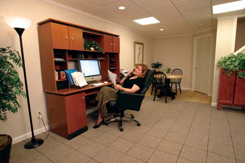 Basement home office making the space work for you for Office space basement