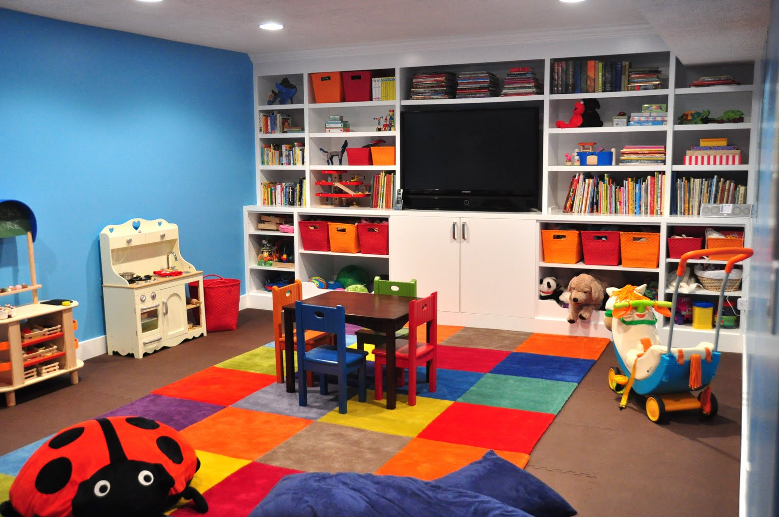 Charmant A Kids Basement Playroom Is Safe And A Great Place To Contain The Clutter.