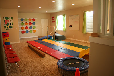 Kids playroom in a finished basement
